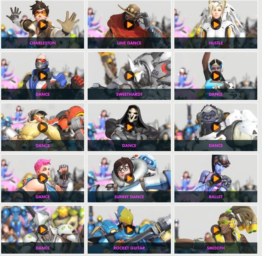 Overwatch anniversary dance emotes